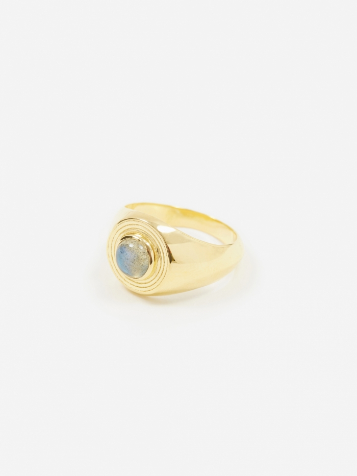 Rachel Entwistle Astral Signet Ring - Gold Plated/Labradorite (Image 1)