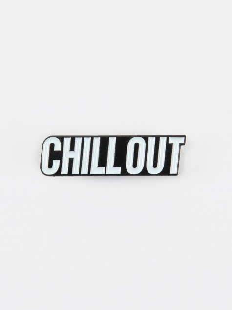 Chill Out Enamel Pin - White/Black