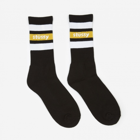 Stripe Crew Socks - Black