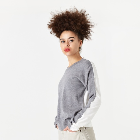 Knitted Top - Grey Melange/White