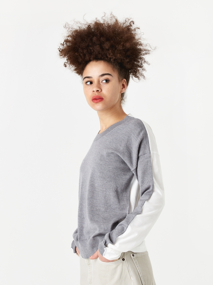 MM6 Maison Margiela Knitted Top - Grey Melange/White (Image 1)