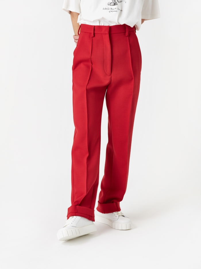 MM6 Maison Margiela Straight Leg Trouser - Red (Image 1)