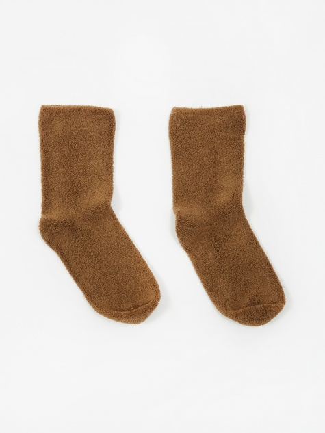 Longstaple Cotton Buckle Over Ankle Socks - Bath Brown
