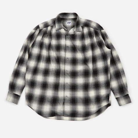 Painter Shirt - Black/White Brushed Twill Plaid