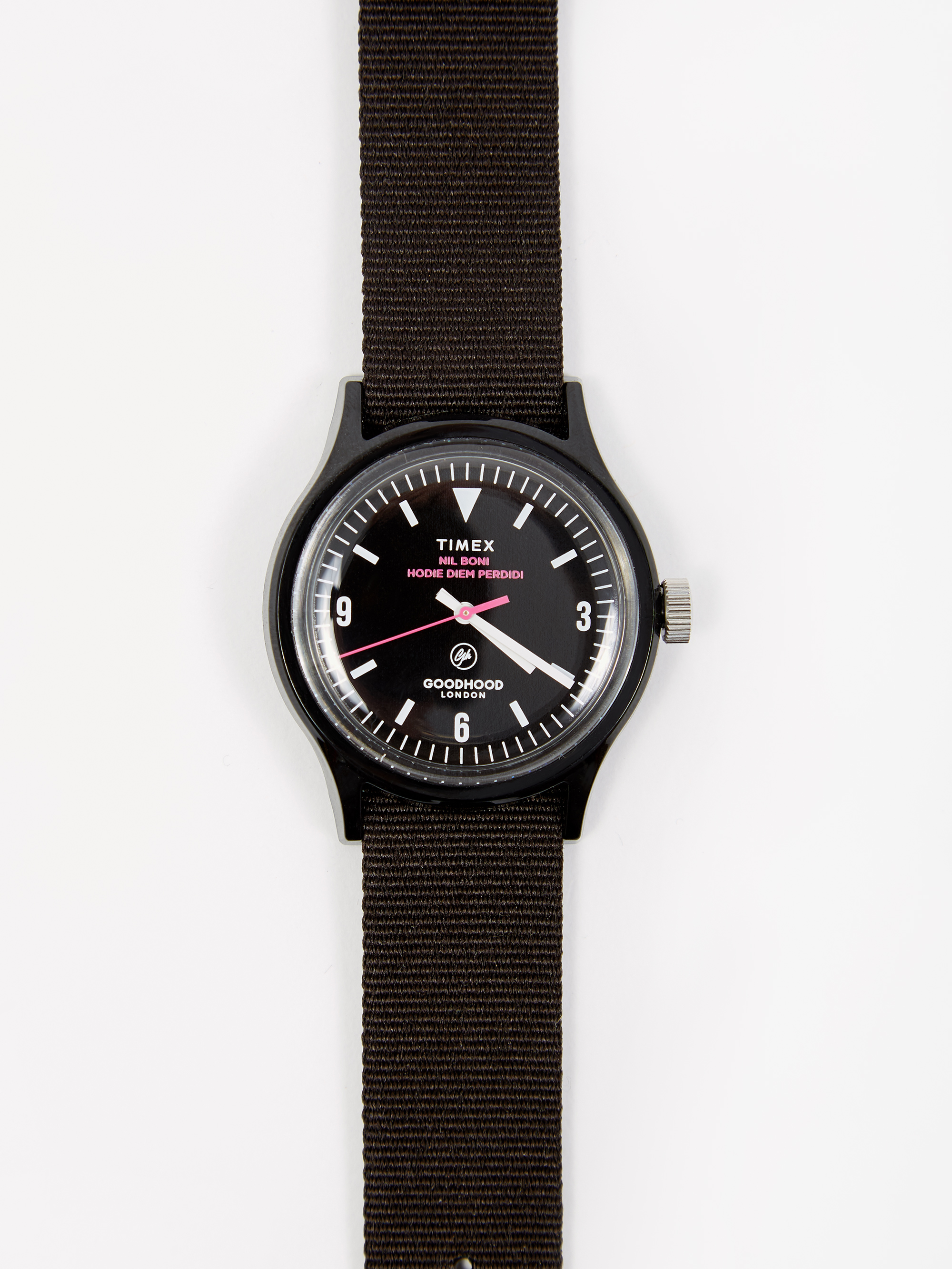 6d4a3fa0c Goodhood x Timex Camper MK1 Watch - Black/Black/Shock Pink