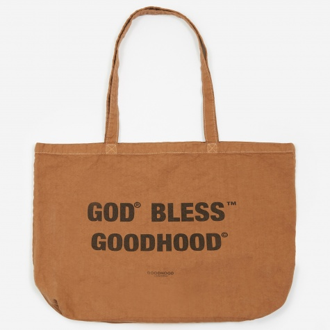 God Bless Tote Bag - Camel Overdye