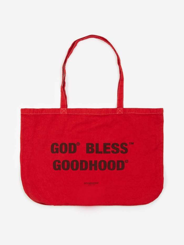 Goods By Goodhood God Bless Tote Bag - Red Overdye (Image 1)
