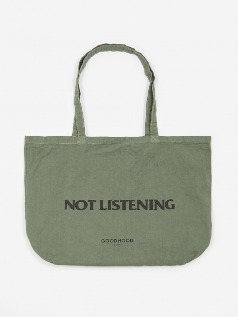 Not Listening Tote Bag - Olive Overdye