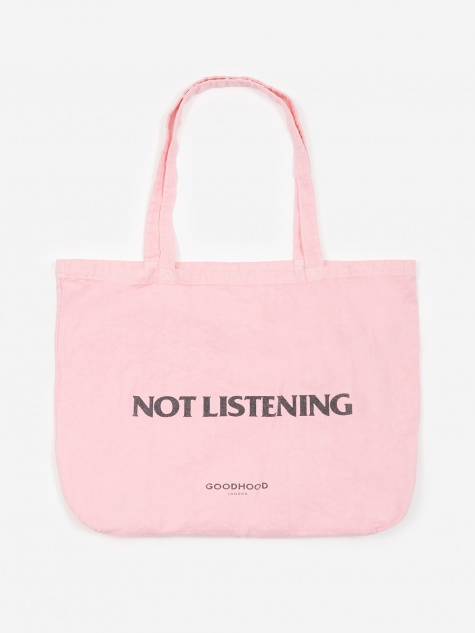 Not Listening Tote Bag - Pink Overdye