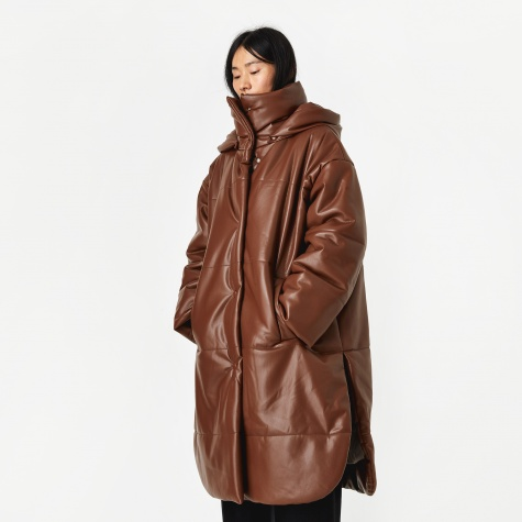 Eska Vegan Leather Padded Coat - Root Beer