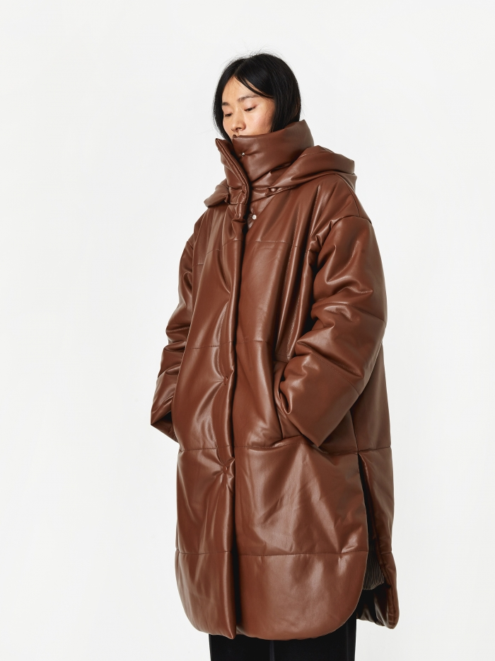 Nanushka Eska Vegan Leather Padded Coat - Root Beer (Image 1)