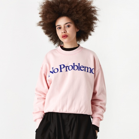 No Problemo Flocked Crewneck Sweatshirt - Pink/Blue