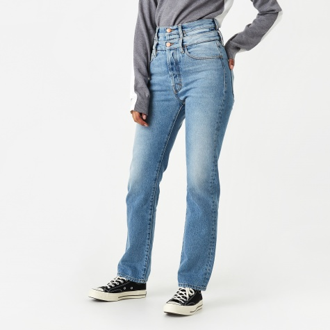 Lilly Double Waistband Jeans - Pale Wash