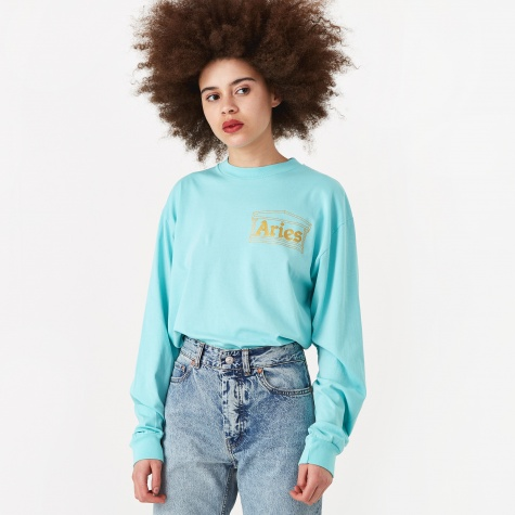 Basic Temple Longsleeve T-Shirt - Aqua/Gold