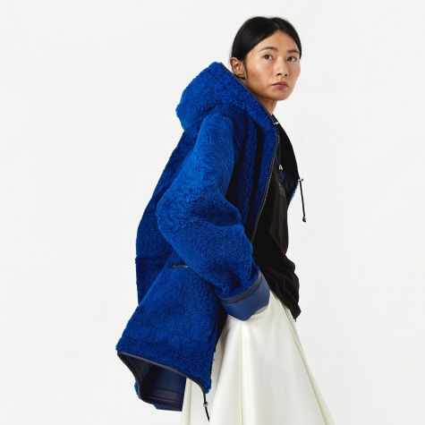 Hooded Sheepskin Jacket - Blue