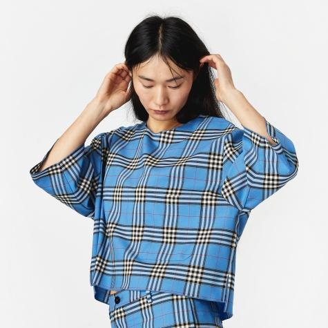 Lidia Check Top - Blue
