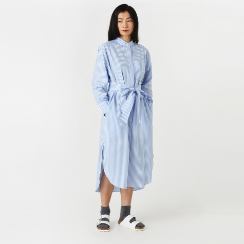 Ivalo Summer Striped Dress - Pale Blue