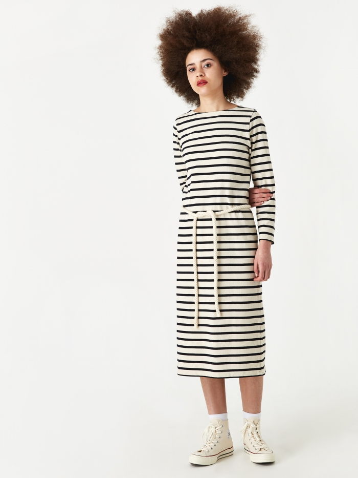 Norse Projects Astrid Classic Stripe Dress - Ecru (Image 1)