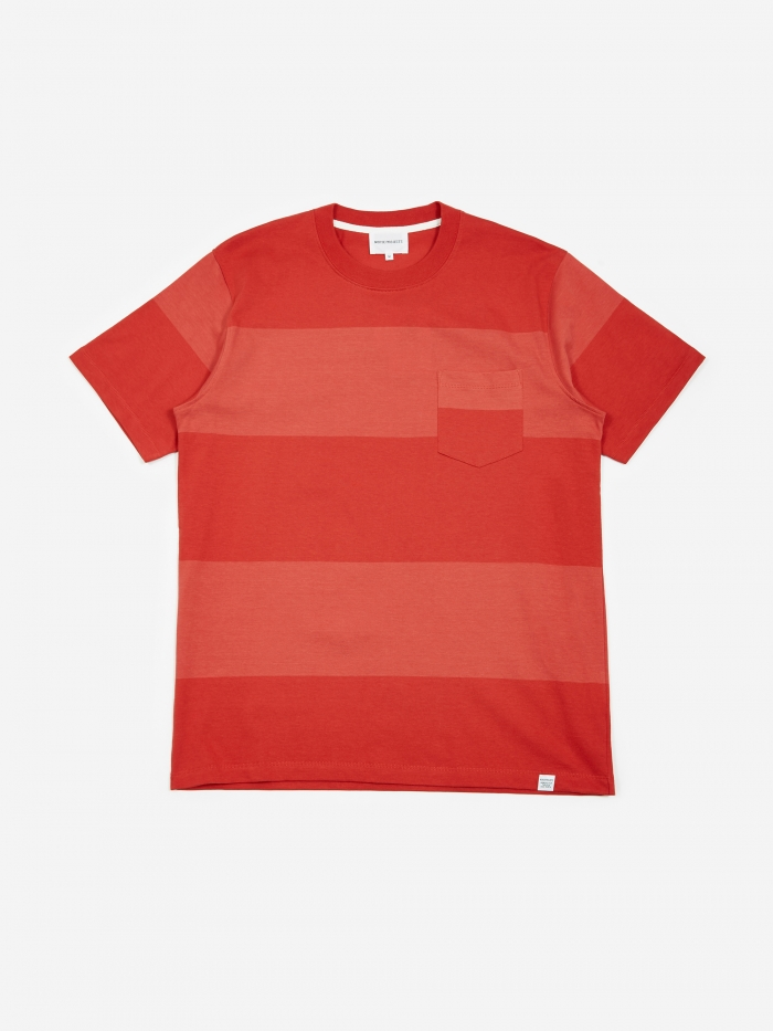 Norse Projects Johannes Block Stripe T-Shirt - Askja Red (Image 1)