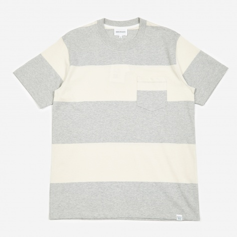 Johannes Block Stripe T-Shirt - Light Grey Melang