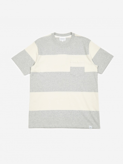73d2a6b2201 Johannes Block Stripe T-Shirt - Light Grey Melang