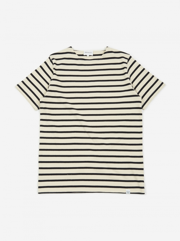 Norse Projects Godtfred Classic Compact Stripe SS T-Shirt - Ecru (Image 1)