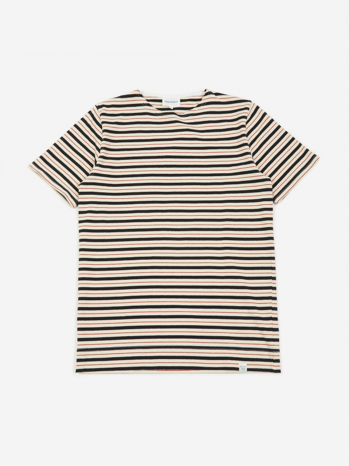 Norse Projects Godtfred Classic Compact Stripe T-Shirt - Red (Image 1)