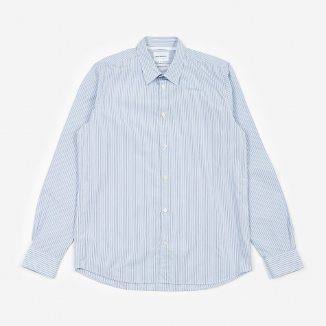 Hans Classic Stripe Shirt - Pale Blue Multi Strip