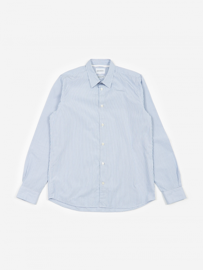 Norse Projects Hans Classic Stripe Shirt - Pale Blue Multi Strip (Image 1)