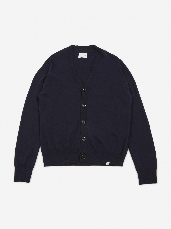 Norse Projects Adam Light Wool Cardigan - Dark Navy (Image 1)