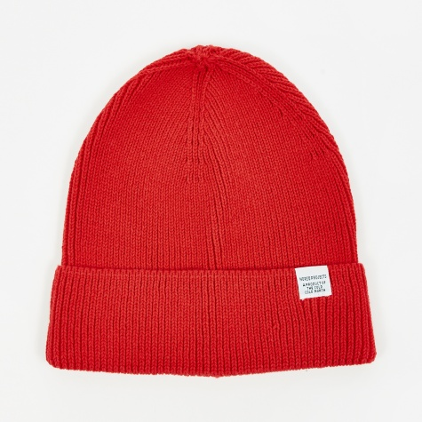 Cotton Watch Beanie - Askja Red