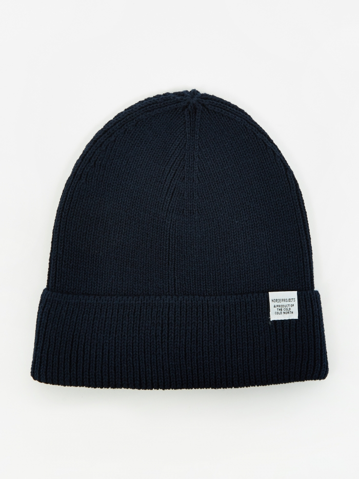 Norse Projects Cotton Watch Beanie - Dark Navy (Image 1)