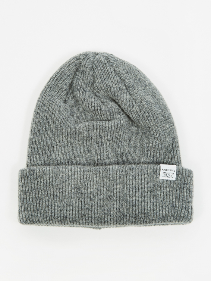 Norse Projects Beanie - Light Grey Melange (Image 1)