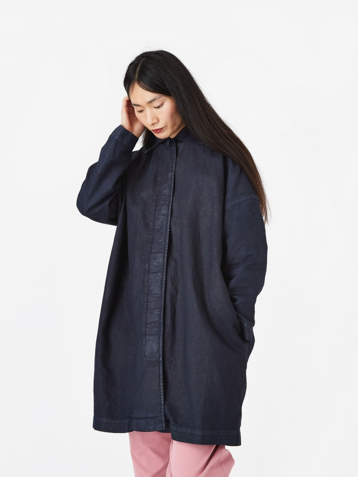 YMC Cocoon Painted Coat - Black/Navy (Image 1)