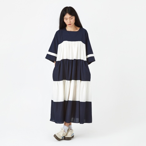 Paloma Dress - Cream/Navy