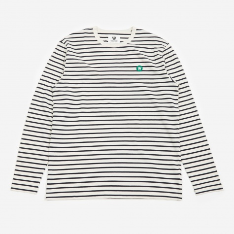 Mel Longsleeve T-Shirt - Off White/Navy Stripes