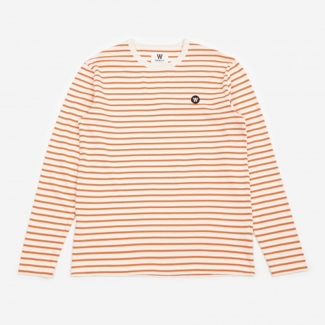 Mel Longsleeve T-Shirt - Off White/Orange Stripes
