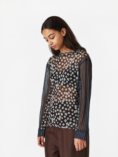 PAM Perks And Mini Dipped And Rolled Mesh Top - Navy Print