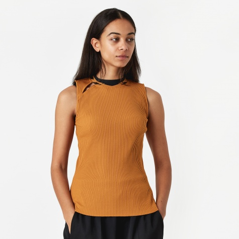 PAM Perks And Mini Sink Bubble Sleeveless Rib Top - Ochre