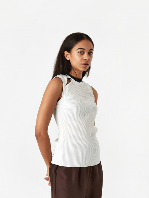 PAM Perks And Mini Sink Bubble Sleeveless Rib Top - White
