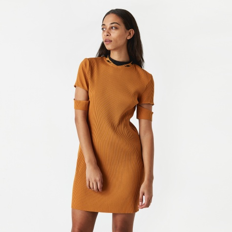 PAM Perks And Mini Pitch And Direction Rib Dress - Ochre