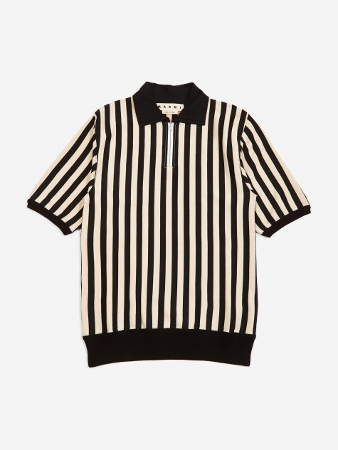 Striped Short Sleeve Shirt - White/Black