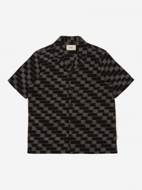 Short Sleeve Soft Collar Shirt - Black/Ecru