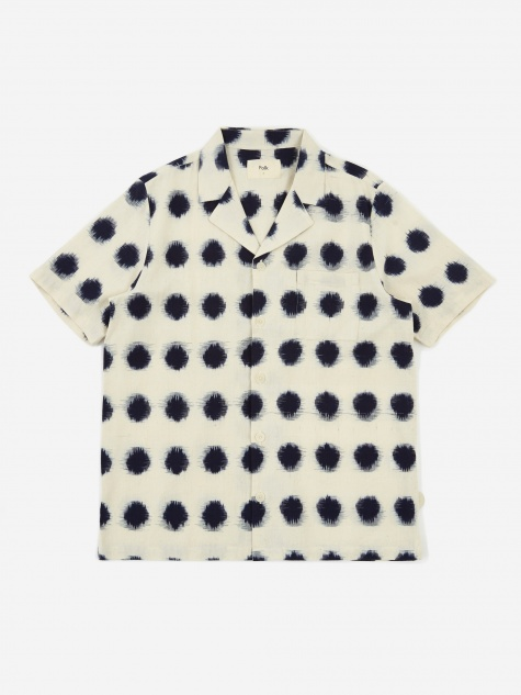 Short Sleeve Soft Collar Shirt - Ecru/Indigo