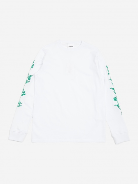 Gary Longsleeve Embroidered T-Shirt - White