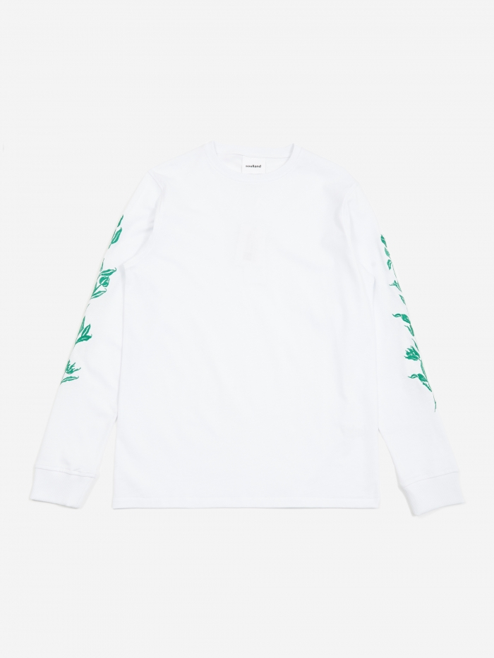 Soulland Gary Longsleeve Embroidered T-Shirt - White (Image 1)