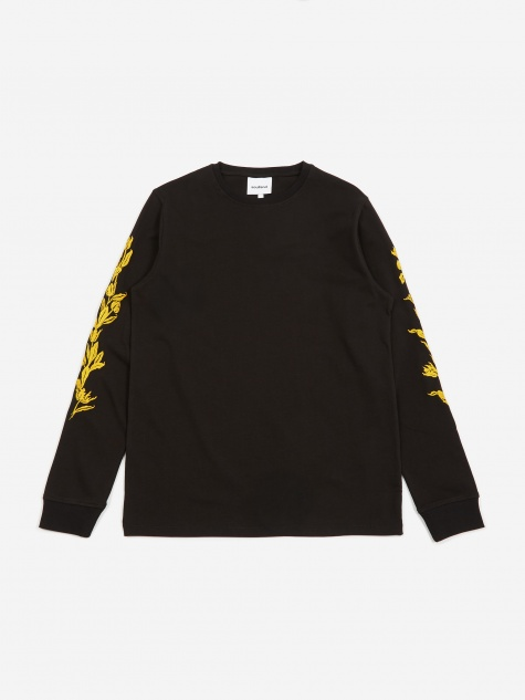 Gary Longsleeve Embroidered T-Shirt - Black