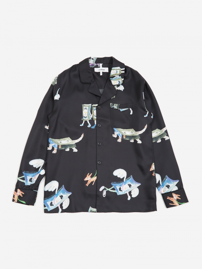 Soulland Richman All Over Print Silk Shirt Jacket - Black (Image 1)