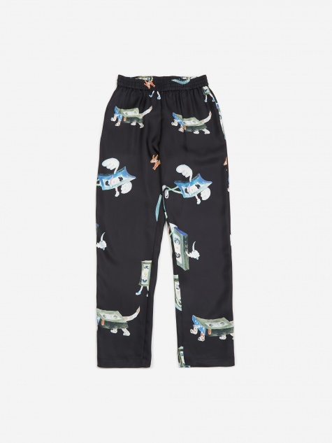 Toast All Over Print Silk Trouser - Black
