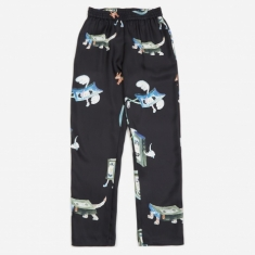 Soulland Toast All Over Print Silk Trouser - Black